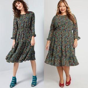 NWT Modcloth Floral Ruffle Dress